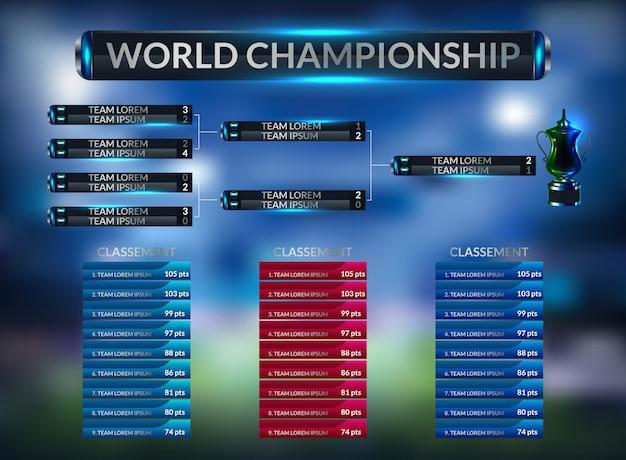 Placar de futebol e estatísticas globais transmitem o modelo de futebol gráfico Vetor Premium