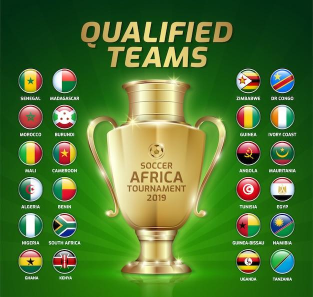 Placar, transmissão, futebol, áfrica, torneio Vetor Premium