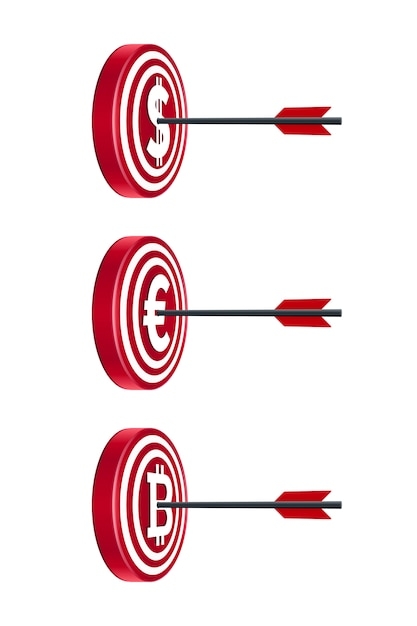 Placas de alvo com moedas e flechas Vetor Premium