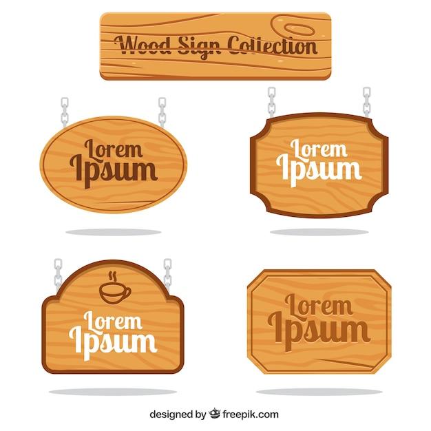 Placas de madeira com correntes Vetor grátis