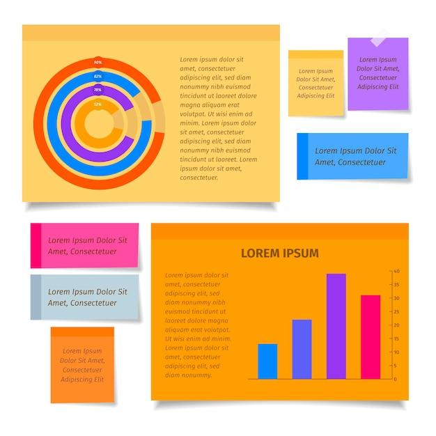 Placas de notas adesivas infográficos em design plano Vetor grátis