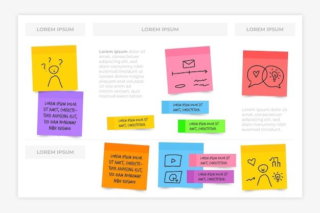 Placas de notas adesivas infográficos em design plano Vetor Premium