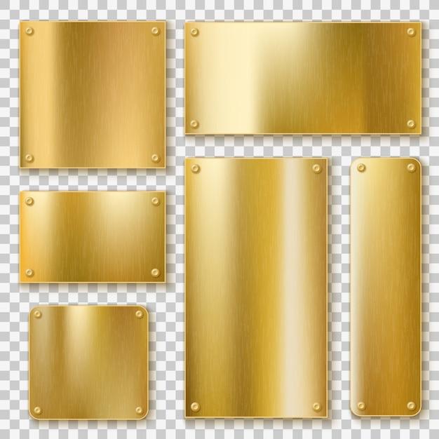 Placas de ouro. placa amarela metálica ouro, banner de bronze brilhante. rótulo em branco texturizado polido com modelos realistas de parafusos Vetor Premium