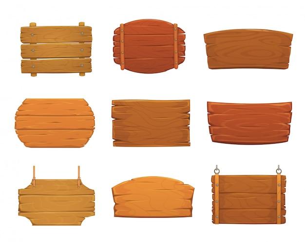 Placas de sinal de madeira de pranchas de madeira velhas Vetor Premium