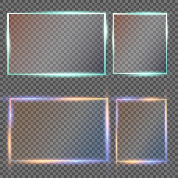 Placas de vidro definem faixas de vidro em fundo transparente Vetor Premium