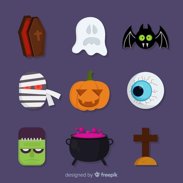 Plana coleção de elemento assustador de halloween Vetor grátis