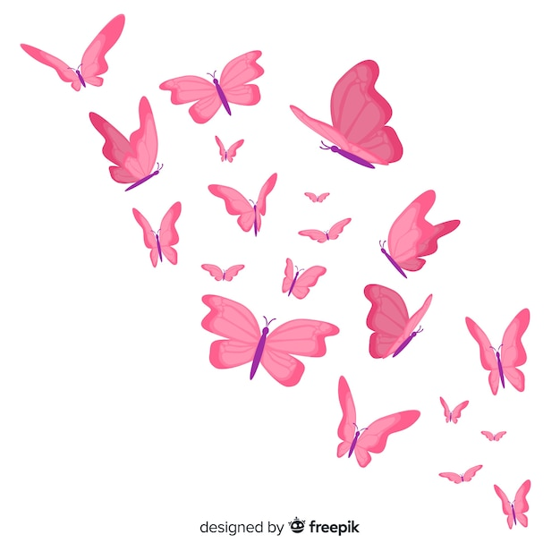 Planas borboletas voando fundo Vetor grátis
