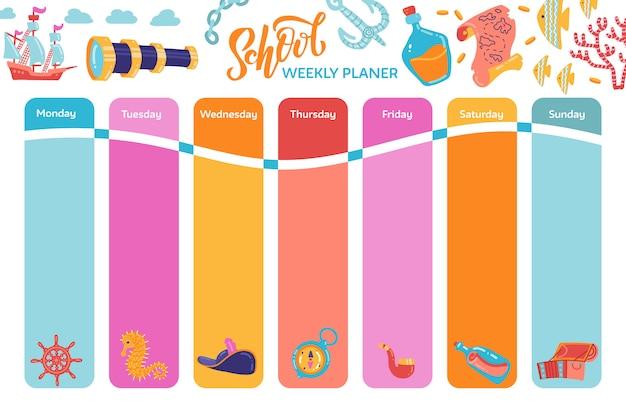 Planejador de calendário semanal brilhante, calendário escolar com símbolos de aventura. Vetor Premium