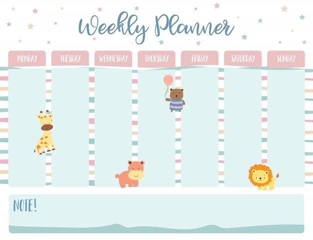 Planejador de calendário semanal em pastel Vetor Premium