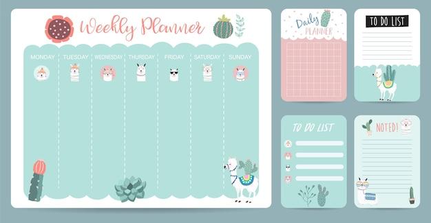 Planejador de calendário semanal pastel com lhama, alpaca, cacto. pode ser usado para impressão, álbum de recortes, diário Vetor Premium