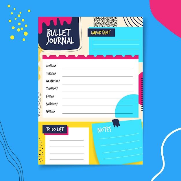 Planejador de diário com marcadores com fundo azul e amarelo Vetor Premium