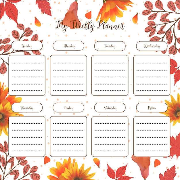 Planejador de estudante semanal com outono floral Vetor Premium