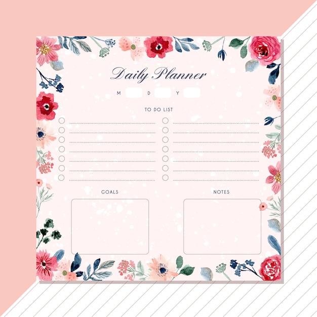 Planejador diário com lindo quadro aquarela floral Vetor Premium