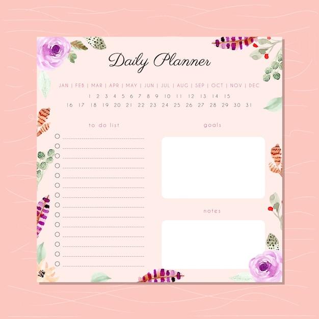 Planejador diário com moldura de aquarela floral Vetor Premium