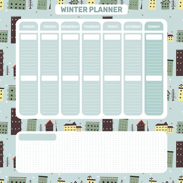 Planejador diário semanal natal temático fofo estilo escandinavo planejador de inverno Vetor Premium