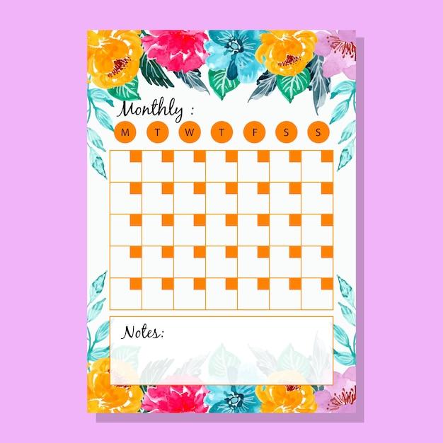 Planejador mensal da flor colorida da aguarela Vetor Premium