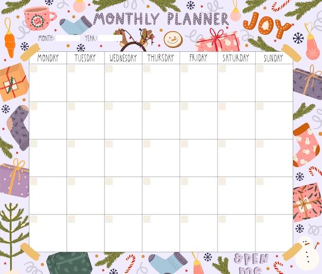 Planejador mensal em branco com tema de natal Vetor Premium
