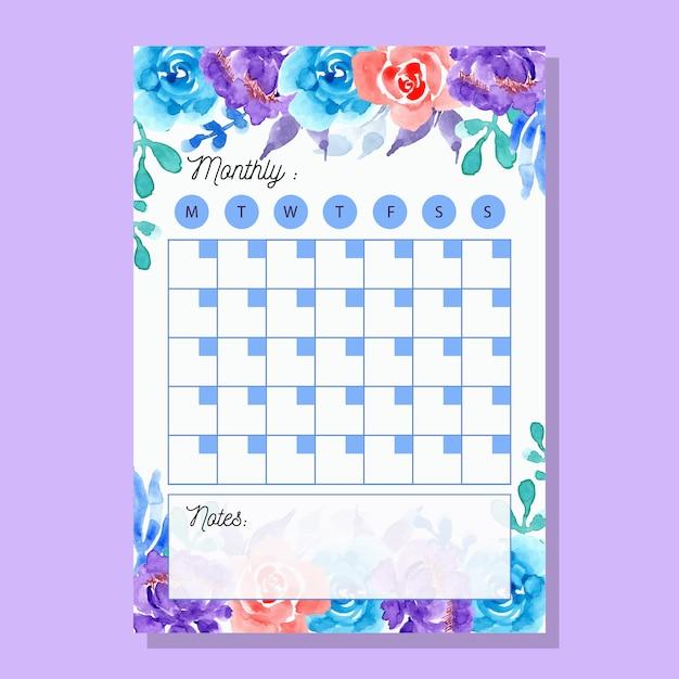Planejador mensal roxo azul com flor da aguarela Vetor Premium