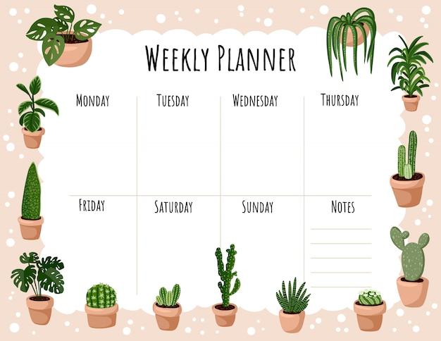 Planejador semanal boho acolhedor e para fazer a lista com ornamento de plantas suculentas em vasos hygge. modelo de lagom bonito para agenda, planejadores Vetor Premium