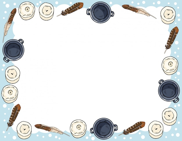 Planejador semanal boho acolhedor e para fazer a lista com ornamento de velas, penas e caldeirões. bonito modelo para agenda, planejadores, listas de verificação. estacionário Vetor Premium
