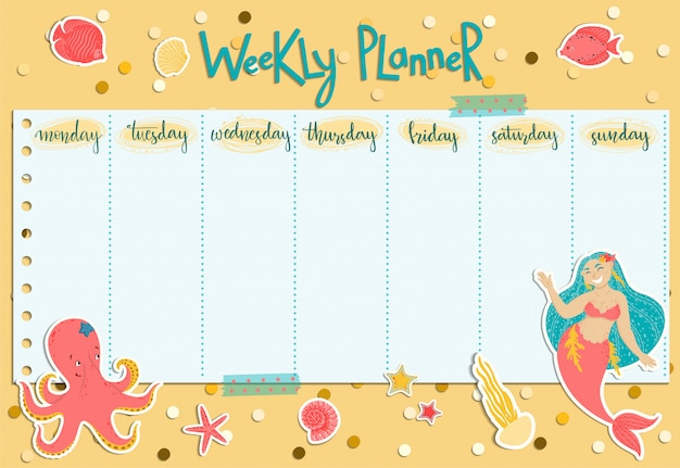 Planejador semanal colorido com uma sereia, algas, peixes, conchas e polvo. Vetor Premium