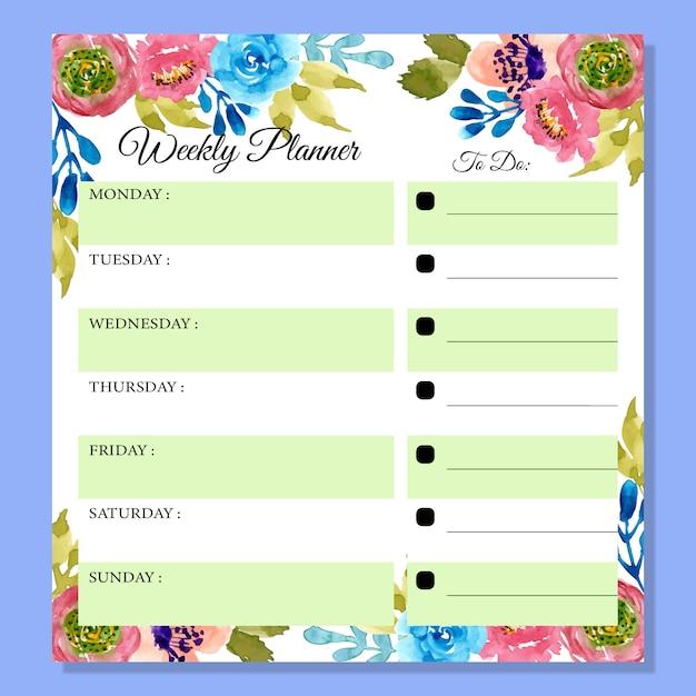 Planejador semanal com aguarela bonita floral Vetor Premium