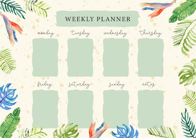 Planejador semanal com aquarela floral verão tropical Vetor Premium