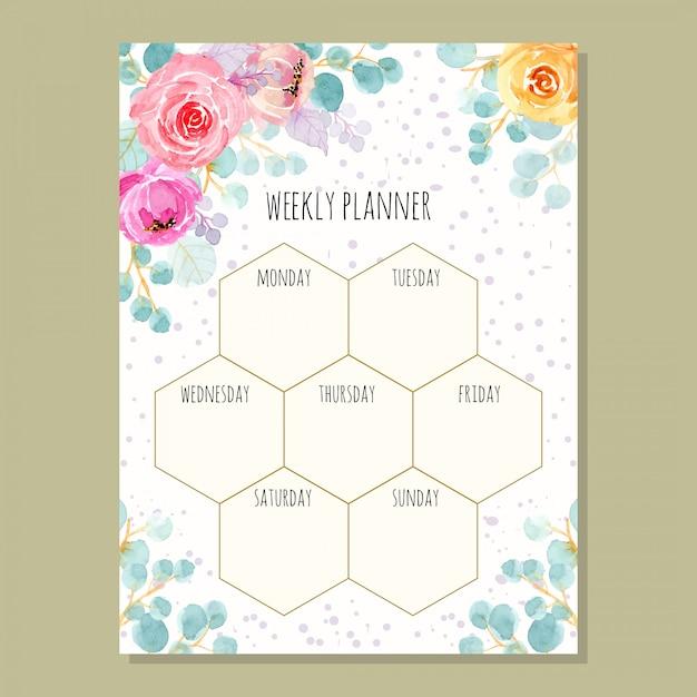 Planejador semanal com aquarela floral Vetor Premium