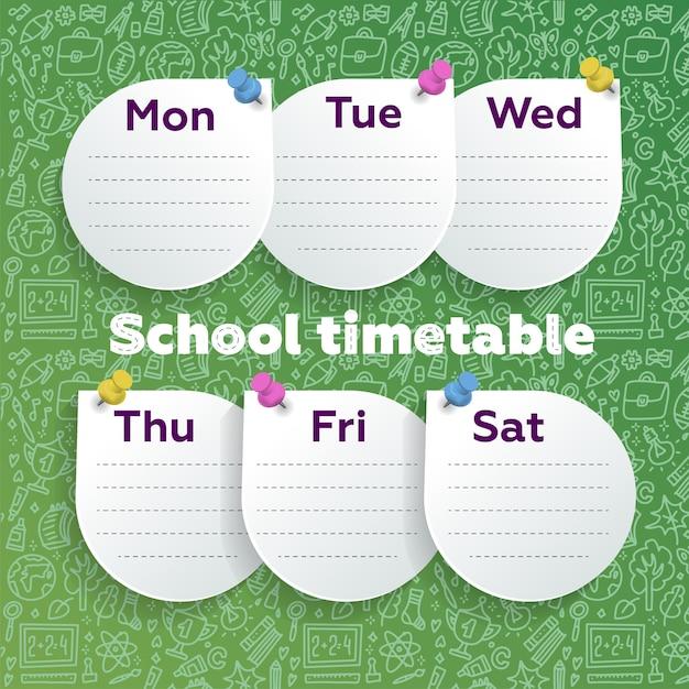 Planejador semanal com design inteligente. folhas redondas pushpined na lousa verde com material escolar doodle arte de linha. Vetor Premium