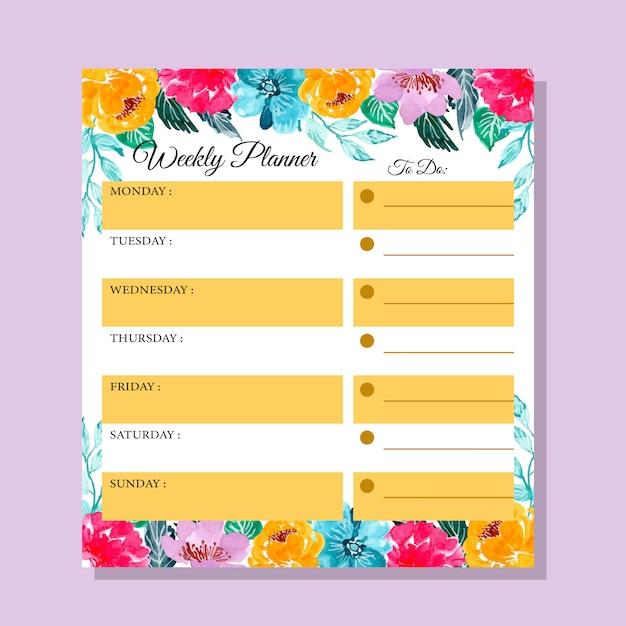 Planejador semanal da flor colorida da aguarela Vetor Premium