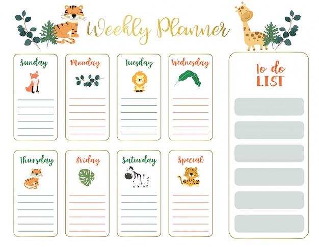 Planejador semanal de animais fofos Vetor Premium