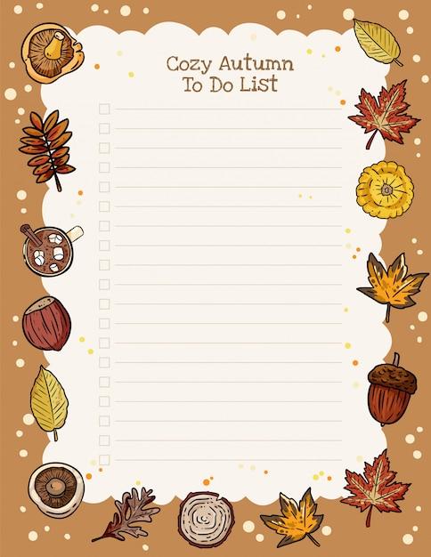 Planejador semanal de outono acolhedor e para fazer a lista com ornamento de elementos da moda outono Vetor Premium