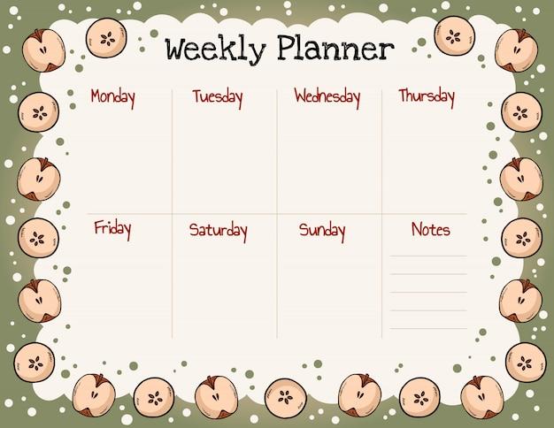 Planejador semanal de outono acolhedor e para fazer a lista com ornamento de maçãs Vetor Premium
