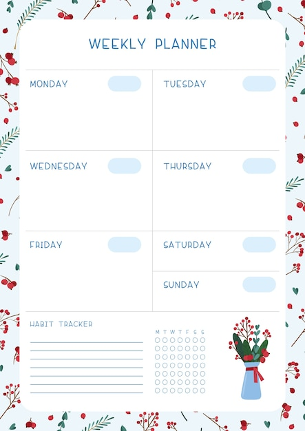 Planejador semanal em branco. organizador pessoal com tema de inverno vazio. folhas de árvore simbólica de natal, frutas, buquê Vetor grátis