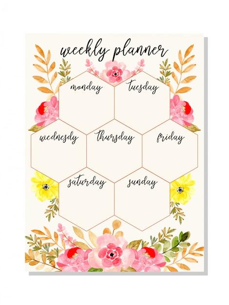 Planejador semanal rosa com aquarela floral Vetor Premium