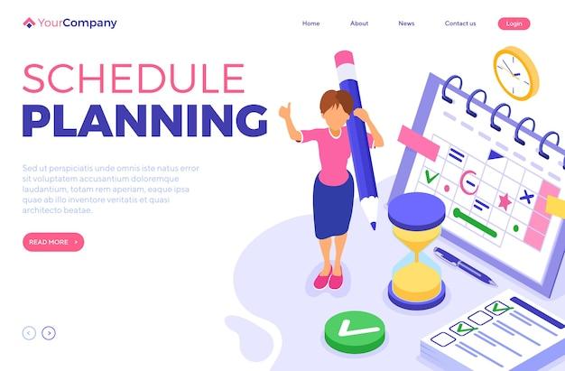 Planejamento, cronograma, gerenciamento de tempo e planejamento com prazo de tempo, infográficos isométricos, página de destino de negócios Vetor Premium