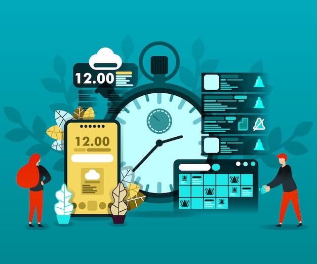 Planejamento de cronograma e tecnologia de tempo Vetor Premium