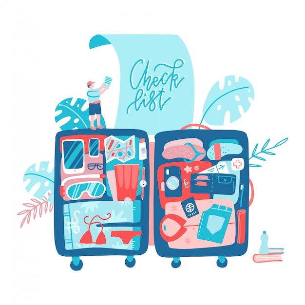 Planejamento de férias viaje com mala grande. Vetor Premium