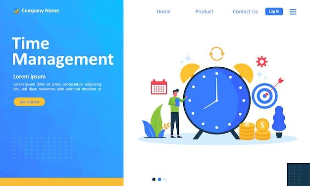 Planejamento de gerenciamento de tempo para página de destino da web Vetor Premium
