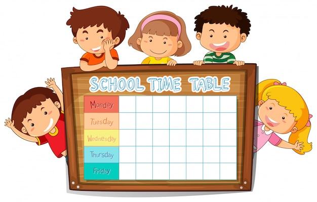 Planejamento escolar com horários com personagens Vetor grátis