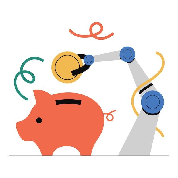 Planejamento financeiro, poupança, poupança automática, investimento. Vetor Premium