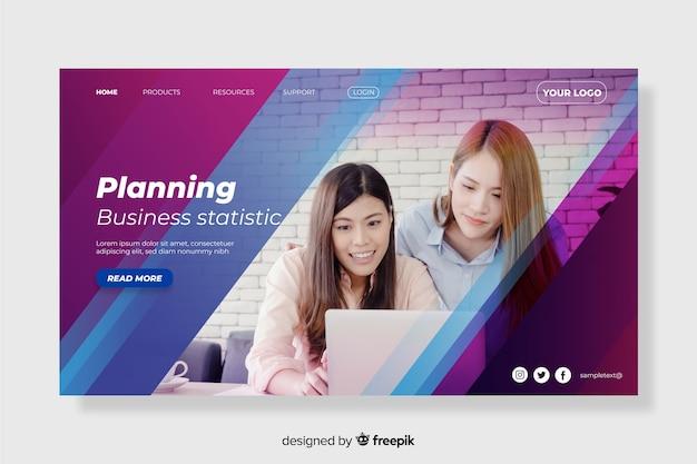 Planejando a página inicial de negócios com foto Vetor grátis