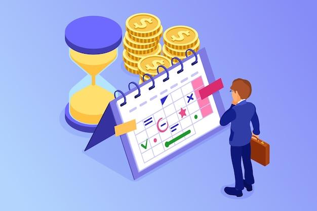 Planejando cronograma gerenciamento de tempo empresário planejando trabalhar em casa com ampulheta escolhe metas no cronograma calendário prazo final tempo isométrico infográficos negócios Vetor Premium