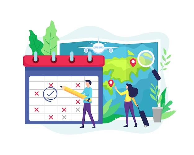 Planejando destinos de horário e férias Vetor Premium