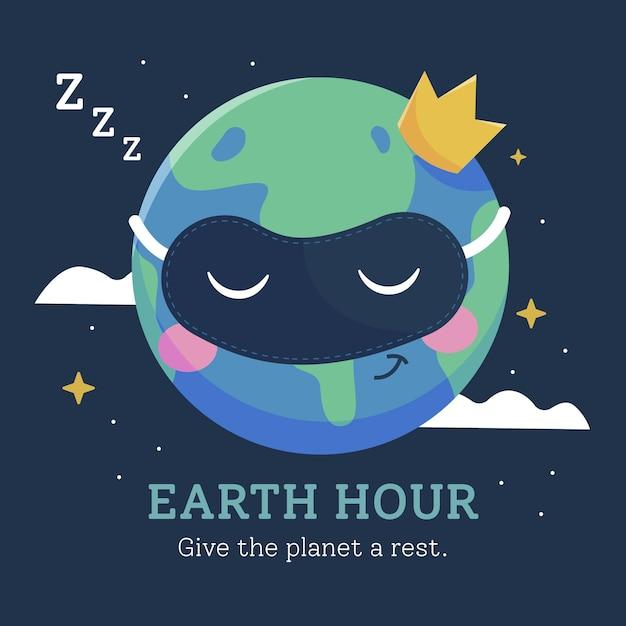 Planeta da hora da terra com design plano e coroa Vetor grátis
