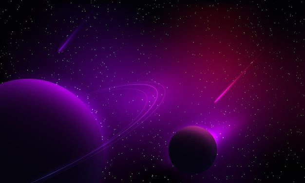 Planeta de fantasia e cometa com estrela e nebulosa colorida no fundo usam para pano de fundo ou ilustração Vetor Premium