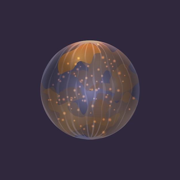 Planeta mercúrio no ícone do espaço profundo Vetor Premium