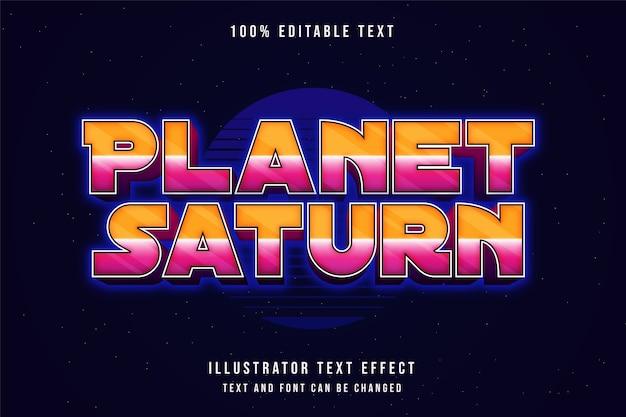Planeta saturno, efeito de texto editável estilo de texto gradação rosa neon amarelo Vetor Premium