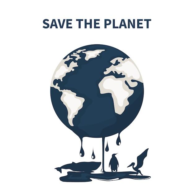Planeta terra contaminada por petróleo e animais morrendo Vetor Premium
