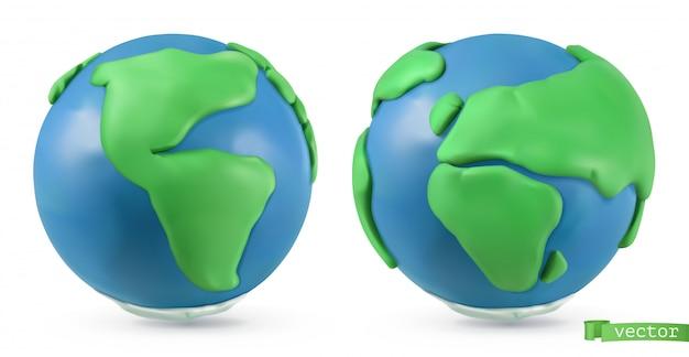 Planeta terra. objetos 3d ilustração de arte de plasticina artesanal Vetor Premium